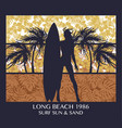 long beach surfing girl silhouette vector image