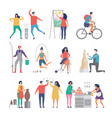 male and female hobbies people working love vector image