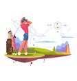 male golfer playing golf vector image vector image