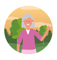 old woman avatar round icon vector image vector image