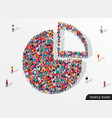 people crowd in form pie chart composed vector image