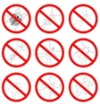 Pest and insect control icons set Tick and vector image vector image