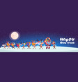 santa with reindeers carry stack of presents vector image vector image