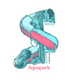 screw slides or aqua tube play in aquapark vector image