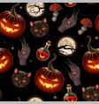 seamless pattern for halloween with pumpkin vector image vector image
