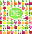 seamless pattern fruits and berries with leaves vector image