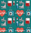 seamless pattern with medical elements vector image