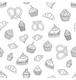 seamless pattern with sweets pies cupcakes ice vector image
