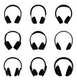 set black silhouttes headphones vector image