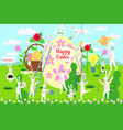 set cute easter cartoon characters and design vector image vector image