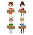 Set of cartoon boys and girls holding a sign for