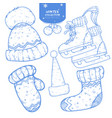 set of hand drawn winter holiday sketches vector image
