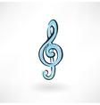 treble clef grunge icon vector image