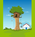 tree house in garden backyard vector image vector image