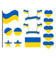ukraine flag set collection of symbols flag vector image vector image