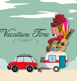 Vacation time with car full of luggages vector image