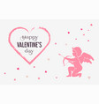 valentines day card with pink cupid and hearts vector image