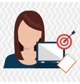 woman with computer isolated icon design vector image vector image