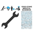 Wrench Icon with 1000 Medical Business Pictograms vector image vector image