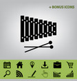 xylophone sign black icon at gray vector image vector image