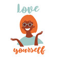 young black girl in eyeglasses love yourself vector image vector image