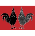 Monochrome silhouette rooster Hand drawn vector image