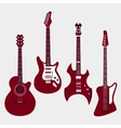 Set of different guitars Acostic guitar electric vector image