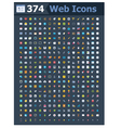 374 web icons vector image vector image