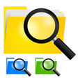 3d a magnifying glass searching icon on yellow vector image