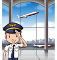 Airline captain at airport vector image