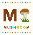 alphabet for children letter m and a mushroom vector image vector image