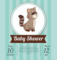 baby shower card invitation - raccoon decorative vector image vector image