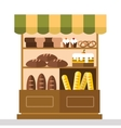 Bakery shop stall with bakery products vector image vector image
