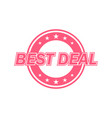 best deal label red color isolated on white vector image vector image
