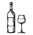 Bottle of wine and glass vector image vector image