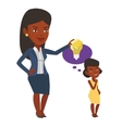 Businesswoman giving idea bulb to her partner vector image vector image