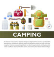 camp poster of camping tools vector image vector image