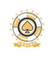 casino logo vintage gambling badge or emblem vector image vector image