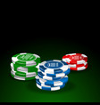 chips set on green table vector image vector image