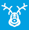 christmas deer icon white vector image vector image