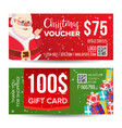 christmas voucher design horizontal vector image vector image