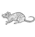 Coloring page with doodle style rat in entangle