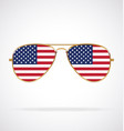 cool gold rim aviator sunglasses with usa flag vector image