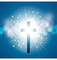cross over blue light explosion vector image vector image