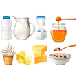 Dairy products set with milk and honey vector image vector image