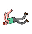 guy fall isolated man falling pain and discontent vector image vector image