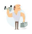 Handyman service to call a repairman worker man