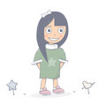 happy girl character cartoon style vector image vector image