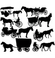 horse drawn vehicle silhouettes vector image vector image