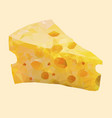 isolated low poly cheese on white backgroundfood vector image